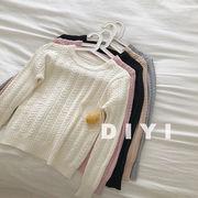 柳 枚 感 単一色 セーターの女性 新しいデザイン 冬服 韓国風 何でも似合う 着やせ