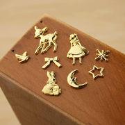 激安☆DIYハンドメイド金属チャーム パーツ材料手芸◆レジン枠◆空枠◆充填 アリス兎鹿星月◆フレーム100枚