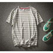 半袖 メンズ Tシャツ ラウンドカラー ファッション 夏  トップスグレー