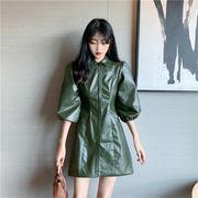 2019 秋季 新品 韓国ファッション 気質 PU革 長袖ワンピース PU 可愛い 上質感 レトロ ワンビース