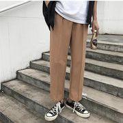 男性 夏 ロングパンツ ストレートズボン ファッション 男性 薄 九分丈パンツ マスタード