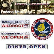 【ESSO】Barber shop Emboss Metal Sign