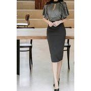 スリムフィット/縫付/フリル/五分袖/スプリット/ハイウエスト スカート ドレス