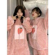 冬 新しいデザイン 韓国風 サンゴ ベルベット スウィート いちごのパジャマ 女性服 ル