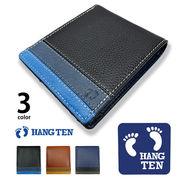 全3色 HANG TEN ハンテン リアルレザー トリコロールカラー 2つ折り スリム 財布 ショートウォレット