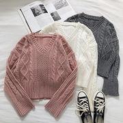 冬 新しいデザイン 韓国風 単一色 襟 キルト ツイスト 紋 ルース ヘッジ 短いスタイ