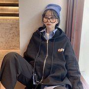 韓国ファッション ロゴプリントスウェット パーカー