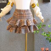 ★2019秋冬新作★キッズスカート 女の子ラシャミニスカート チェック【90CM-130CM】