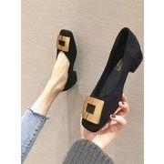 韓国風 レトロ スクエアヘッド 浅い口 メタルバックル 太いヒール 新しいデザイン 靴