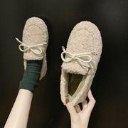 ふわふわシューズ 冬 新しいデザイン 韓国風 子羊ウール ピーズ靴 フラット女性 ペダル