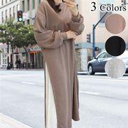 サイドプリーツ配色 カットソーワンピース 長袖 マタニティウェア スウェット ロングプルオーバードレス