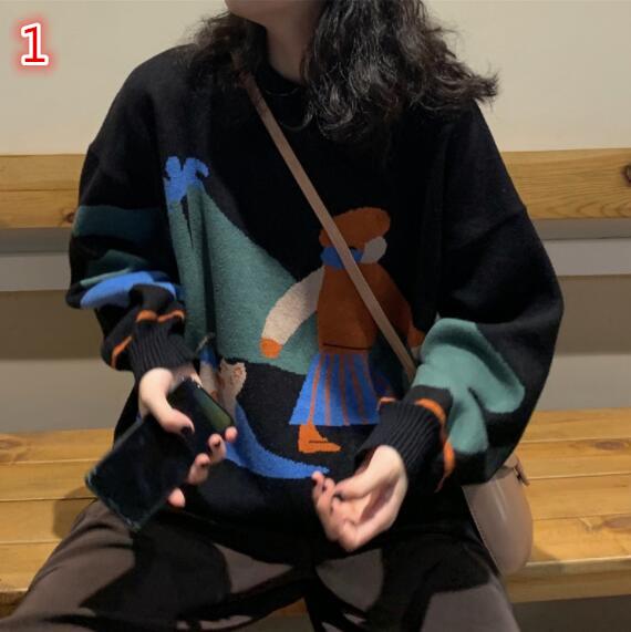 レディーストップス 2色 長袖 丸首のセーター プルオーバー カットソー ケーブル編み ゆったり 秋冬即納
