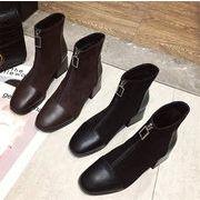 レビュー続々 おしゃれな  2019新作 秋の靴  ショートブーツ フロントジッパー ピンヒール 厚底 ブーツ
