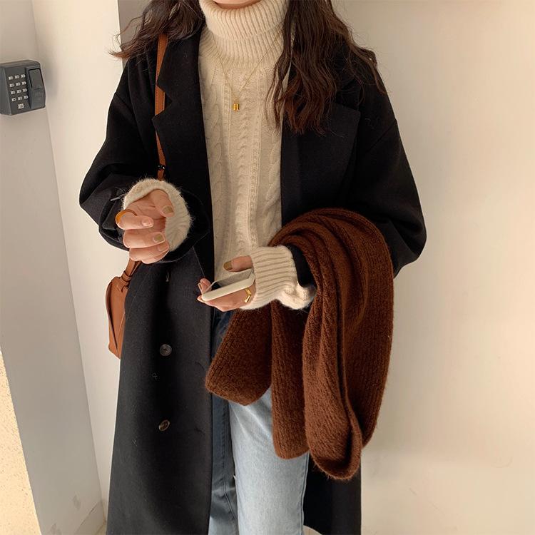 韓国ファッション 上質素材ロングコート
