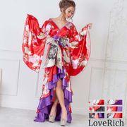 0712サテン和柄フリルロング着物ドレス 衣装 ダンス よさこい 花魁 コスプレ キャバドレス