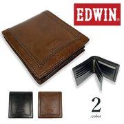 【全2色】EDWIN エドウイン リアルレザー 中ベラ付き 二つ折り財布 ショートウォレット 牛革 本革