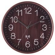 電波掛時計 プライウッド Φ28cm ブラウン