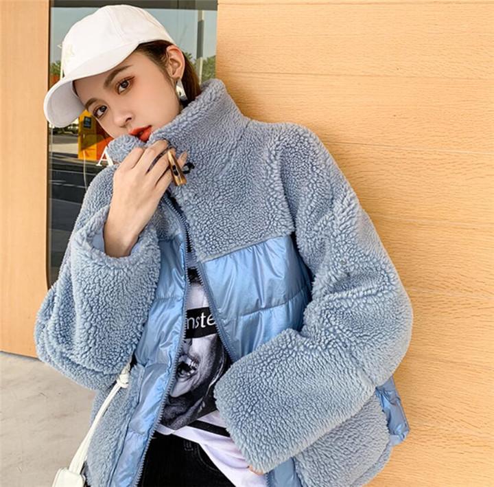 柔らかい履き心地 東大門 冬 新作 子羊の毛 縫付 ダウンコート カジュアル  百掛け 短いスタイル トップス