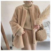 新しいデザイン 秋冬 2019 ぬいぐるみ 模造ウサギの毛  暖かい 毛皮 コート ミンク 短いスタイル トップス