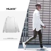 メンズファッション 無地 円弧裾長袖Tシャツ 男女兼用 ストリート系トップス 新作★全3色