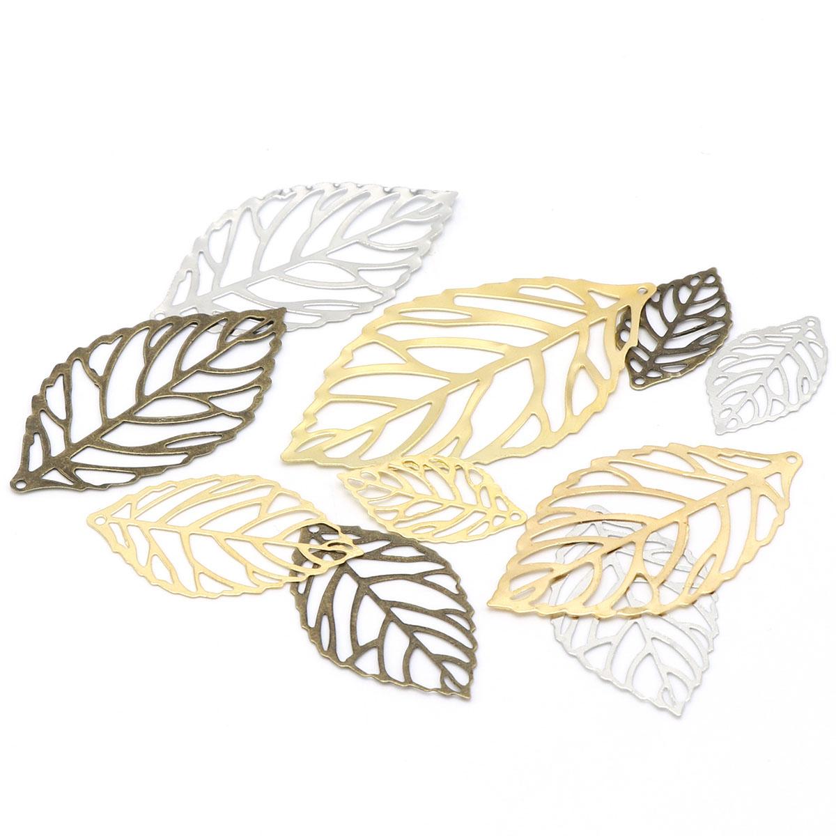100個 葉脈 葉 透かし パーツ 3色 選べる3サイズ DIY アクセサリー シンプル デコパーツ