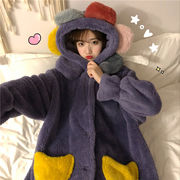 韓国風 かわいい 長袖 帽子付き パジャマ ナイトガウン トラックスーツ 女 秋冬 新し