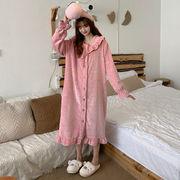 新しいデザイン 韓国風 冬 手厚い さらに 洋服 ナイトドレス 中長スタイル トラックス