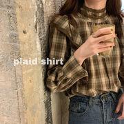 早春 新しいデザイン 韓国風 何でも似合う ルース 復古格子 シャツ フリル 襟 ヘッジ