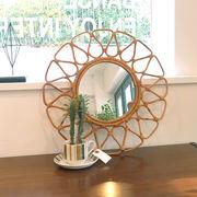 【MIRROR】JUGLAS(ユグラ) フラワーミラー(籐・ラタン家具)