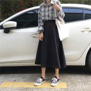 手厚い 羊毛の ドレス ハイウエスト スカート 秋 年 新しいデザイン 韓国風 ファッシ