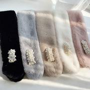 パールボタンビブ/かわいい韓国ファッション厚手スカーフ