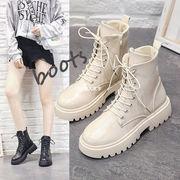【海外買付】レディース 靴PUレザーカジュアルシューズ エンジニアブーツ 編み上げブーツ ワークブーツ