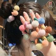 大人可愛い ヘアゴム ファーポンポン ヘアアクセサリー 髪飾り 女性 髪留め ゴム 即納