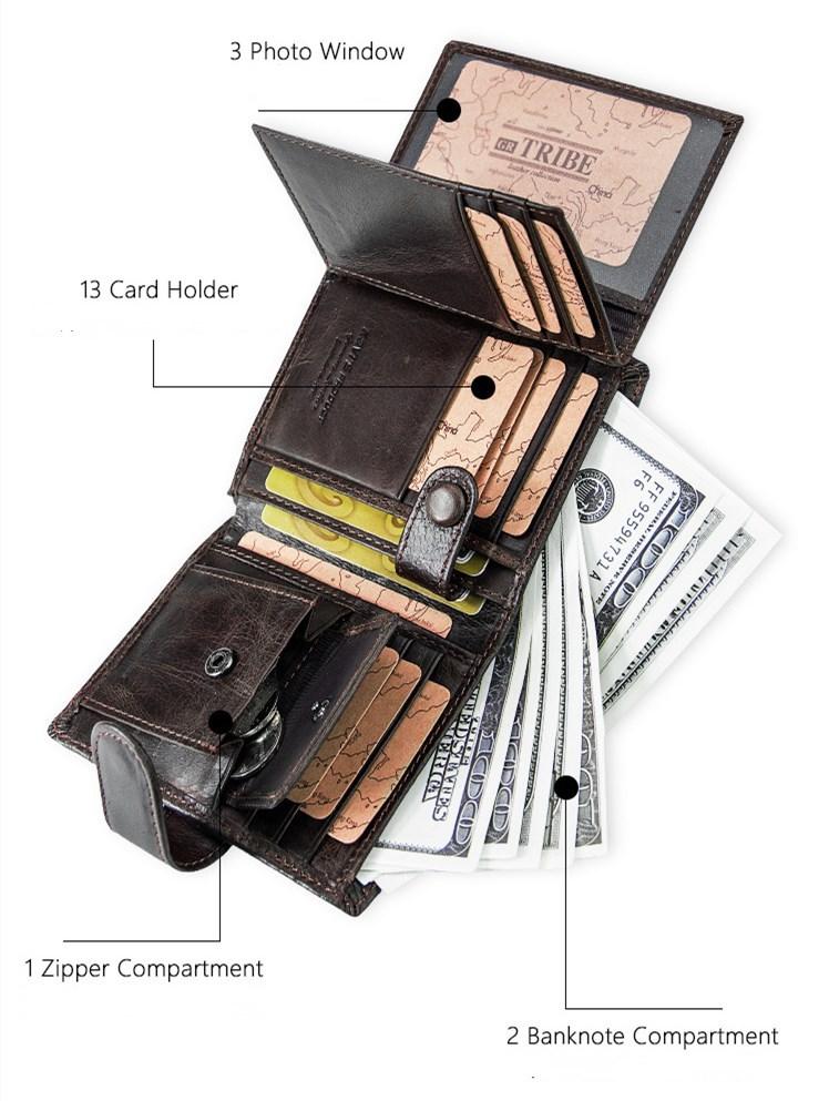 メンズウォレット 二つ折り 大容量 高級感 コンパクト財布 13枚カード収納