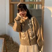 初回送料無料 2019 大人気 刺繍 セーター ニット ジャケット 全2色 mjpzn-1912ar10秋冬 新作