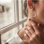 激安☆レディース新作★ピアス★大振り耳飾り★幾何学earrings★メタル★Ear Cuff イヤーカフ パール