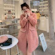 YUNOHAMIコートアウター 韓国ファッション ラペル 子羊ウール 長袖 ウールコート 中長スタイル 秋冬