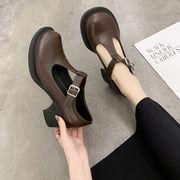 春 新しいデザイン 太いヒール ソフト 珍 靴 大 ヘッド 女 ネット レッド 小さな靴