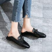 靴 女靴 春 新しいデザイン スクエアヘッド フラット コンフォート ローファー 2wa