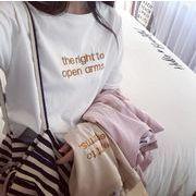 2020 新作  トップス Tシャツ 刺繍 夏 英文字 オシャレ レディース オーバーサイズ 韓国