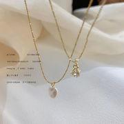 アクセサリー ネックレス ビンテージ ストーン パール 二重 レトロ ファッション
