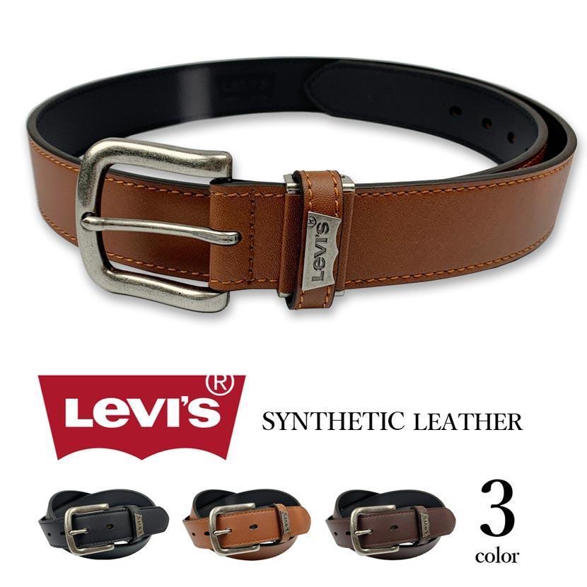 【全3色】 Levi's リーバイス ロゴプレート ステッチ デザイン レザー ベルト 合成皮革 フェイクレザー