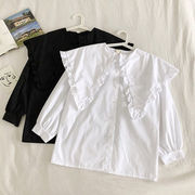 単一色 シングル列ボタン ネイビー 襟 ドールシャツ 女 早春 新しいデザイン ハン 学