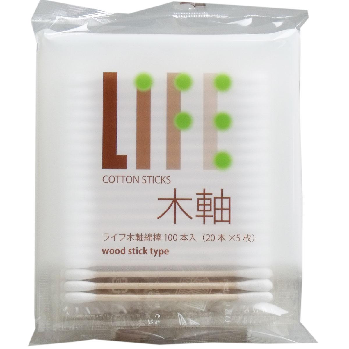 [9月26日まで特価]ライフ 木軸綿棒 100本(20本×5枚)入