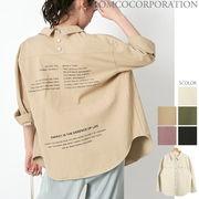 【2020春物新作♪】後ろドット釦 バックプリントオーバーサイズCPOシャツ
