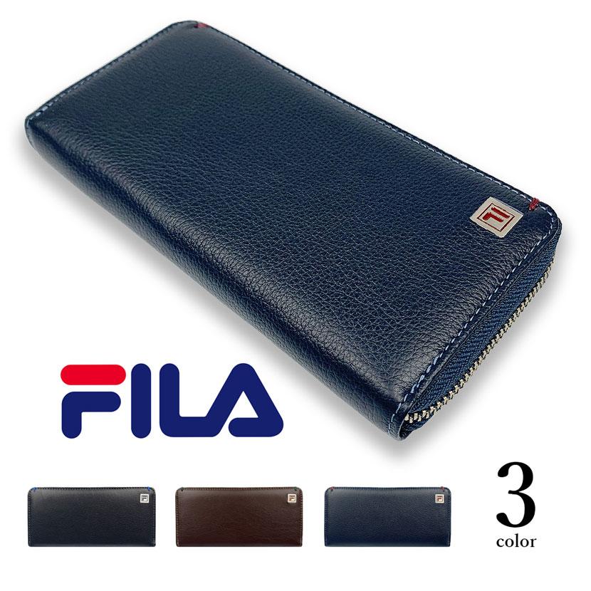 全3色 FILA(フィラ)リアルレザー バイカラーラウンドファスナー 長財布 ロングウォレット 牛革