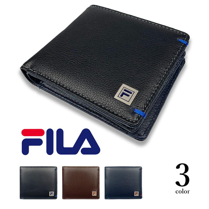 全3色 FILA(フィラ)リアルレザー バイカラー 中ベラ付き 二つ折り財布 ショートウォレット 牛革
