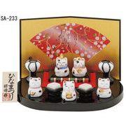 ★ひな祭りを飾る★ 縁起の良い雛人形【豆猫雛飾り(白磁)】