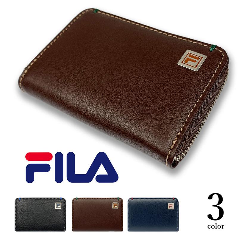 全3色 FILA(フィラ)リアルレザー バイカラー ラウンドファスナー コインケース 小銭入れ ミニウォレット