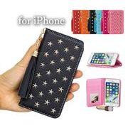 iPhone ケース 手帳型 かわいい電話ケース  カード収納 星柄 携帯カバー全6色 タッセルチャーム付